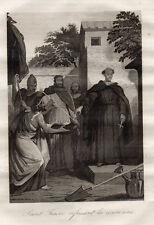 GRAVURE RELIGION /  SAINT FIACRE REFUSANT LA COURONNE