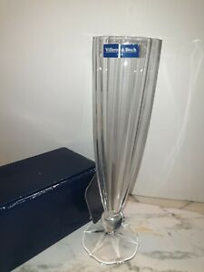 "VILLEROY & BOCH TALL CRYSTAL GLASS VASE BNWB APPROX 11"""