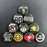 """Industrial Bands 1"""" Button Pin Set Ministry Skinny Puppy Rammstein NIN"""