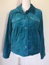 Isaac Mizhrahi Live Cotton Velvet Button Up Jacket Teal Women's Size 10