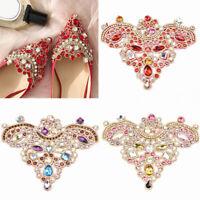 1Pair Crystal Rhinestone Shoes Applique Flatback Sew On Wedding Bride Decor