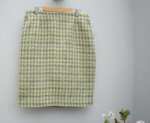 Laura Ashley Tweed Yellow Fully Lined Skirt UK 12