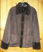 Brandon Thomas Reversible Chocolate Brown Faux Suede & Faux Fur Coat, Womens L