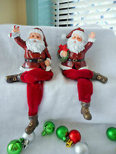 SET OF 2  VERY CUTE JOLLY CHRISTMAS SANTA SHELF SITTERS