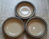 GROUP OF 3 DENBY  SONNET SOUP / CEREAL BOWLS about 7 1/2 inches  across the top