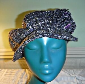 WOW COOL M & S PURPLE TWEED CAP HAT MATCHING ROSSETTES COMFORTABLE CHIC 1 SIZE