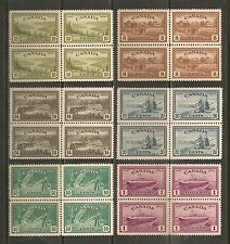 Canada #268-273 BLOCKS VF MNH - 1946 8c to $1.00 KGVI Peace Issue
