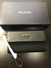 AUTHENTIC NWT Prada Envelop Wallet / Wristlet Purse In Black Leather & Fabric