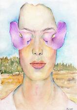 SURREALISTIC PORTRAIT & FLOWERS Original watercolor painting by Marina Sotiriou