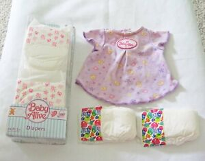 Baby Alive Dress & Doll Accessories 6 Count Diaper Pack New