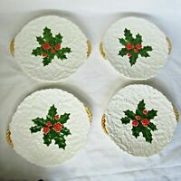 """4 Lefton Holly & Berries Embossed White Hand Painted Christmas 8"""" Plates Japan"""