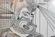 1985 Surrealist portrait ink painting signed