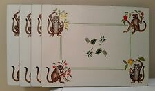 """Lady Clare Placemats Set of 4 """"Monkey Business"""" Lynn Chase Velvet backed"""