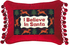 "Pillows - ""I Believe In Santa"" Pillow - Petit-Point Christmas Pillow"