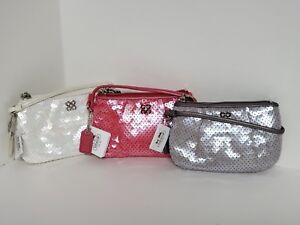 Coach Audrey Ivory Gray Pink Sequence Small Wristlet Evening Clutch NWTIP RARE