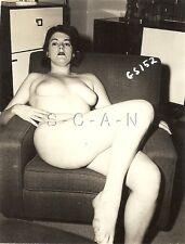 Original Vintage 1940s-50s Nude Sepia RP- Endowed Woman Sitting in Chair- Legs