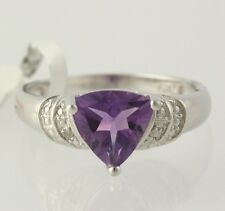 NEW Amethyst Trillion Solitaire Ring - Diamond Accents 925 Sterling Silver Band
