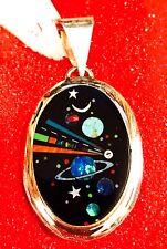 Native American MICRO INLAY Silver Pendant ,Zuni inlay  multiple stones Oval