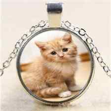 Cute Baby Cat Kitty Cabochon Glass Tibet Silver Chain Pendant  Necklace