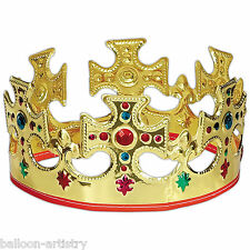 Gold Plastic King Queen Princess Jewel Majestic Crown Party Hat