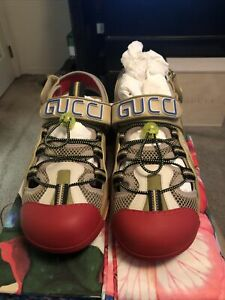 Men's Gucci Tinsel Sport Leather Sandals Blended Fabrics Size 12G 13US