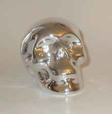 "Silver Skull Coin Bank Piggy Savings Ceramic 4.5"" Long New"