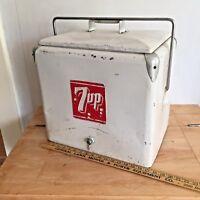 VINTAGE 7UP SEVEN UP METAL COOLER 1950's - DRAIN PLUG INCLUDED Progress Refrig.