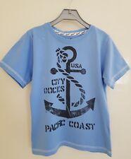 Boys Light Blue Short Sleeve T-shirt - 6-7 Years  Pacific Coast / Anchor Design