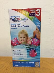 Swim School Soft Fabric Arm Floats | Adjustable 40-80 LBS Water Wings - PINK