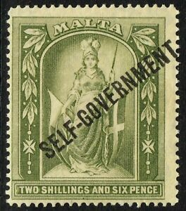 SG 112 MALTA 1922 - 2/6d OLIVE-GREY - MOUNTED MINT
