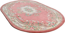 LARGE PINK CHINESE AUBUSSON HAND TUFTED RUGS IN Oval 9'.6'' X 6'.3''