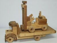 Flatbed Tractor Trailer Wood SKID TOY TRUCK & FORKLIFT Kids Toy