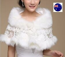 Women White lace Bride Bridal Wedding Party Faux Fur Warm Shawl Wrap Scarf