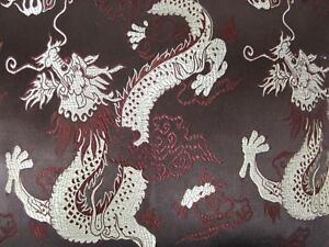 Faux Silk Brocade (Dragon Phoenix) Jacquard Damask Kimono Fabric Material BL4
