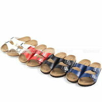Summer Womens Mens Double Buckle Sandals Flat Heel Flip Flops Soft Cork Shoes