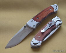 BROWNING FOLDING TACTICAL KNIFE 4 INCH CLOSED WOOD HANDLE WITH POCKET CLIP