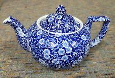 Burleigh Blue Calico Small Teapot Staffordshire England Tea pot