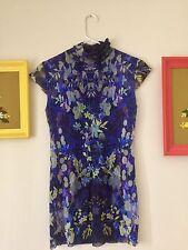 FUZZI Jean Paul Gaultier Women's Lg Sheer Stretch Floral Cap Sleeve Mini Dress