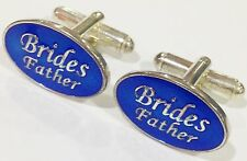 NOVELTY BRIDES FATHER BLUE OVAL WEDDING MENS DRESS CUFF LINKS CUFFLINKS (#1078)
