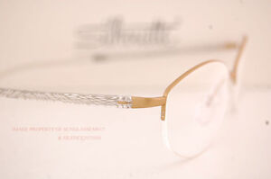 New Silhouette Eyeglass Frames Illusion Nylor 4454 6053 Gold Women Size 53