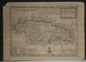 JAMAICA WEST INDIES 1720 HERMANN MOLL ANTIQUE ORIGINAL COPPER ENGRAVED MAP