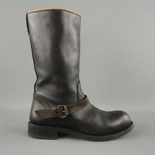 BOTTEGA VENETA $1190 Leather Accent Buckle Mid Calf Boots Shoes Size 38 1/2  8.5