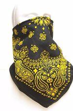 Black Yellow Prospector Style Recreational Fleece Lined Bandana