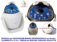 BUSSOLA BIANCA MARINA NAUTICA NAVALE con LUCE e STAFFA H.12 SEMI-PROFESSIONALE