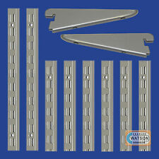 Matt SILVER Twin Slot Shelving System Uprights Brackets Support Adjustable