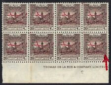 "JORDAN PALESTINE 1953 ""POSTAGE"" OVPT ON PALESTINE AID STAMPS 20 FILS BLOCK OF 8"