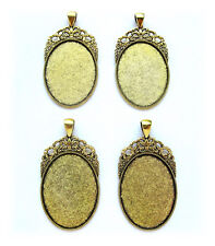 4 Antiqued Goldtone Regal 40mm x 30mm CAMEO Costume PENDANTS Frames Settings