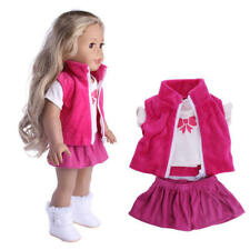 Doll Clothes Dress Outfits Pajames For 18 inch American Girl Our Generation Pink