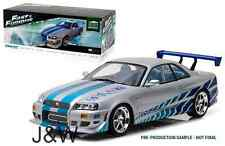 Greenlight Nissan Skyline R34 1999 Brian'S FAST AND FURIOUS ARGENTO 1/18 19029