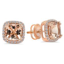 14K Rose Gold Cushion Morganite & Round White Diamond Ladies Halo Stud Earrings
